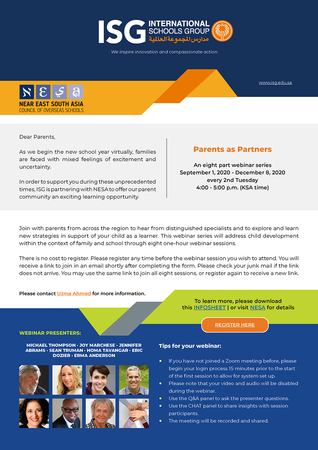 NESA Webinars for Parents: Sign Up for Free